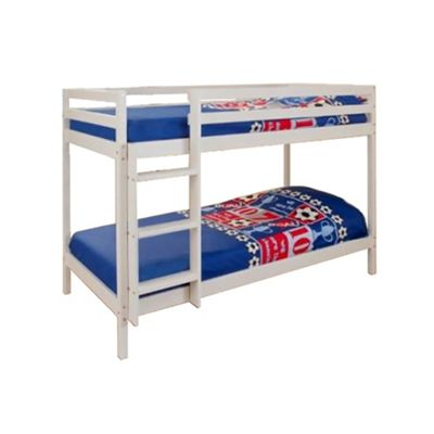 Comfy Living 2ft6 Small single Children's ECO Wooden Bunk Bed in White with 2 Sprung Mattresses