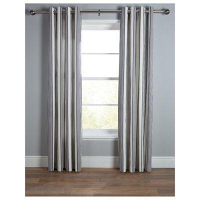 Tesco Ticking Stripe Lined Eyelet Curtains W168xL183cm (66x72