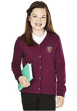 Girls Embroidered Cotton Blend School Sweatshirt Cardigan with As New Technology - Burgundy