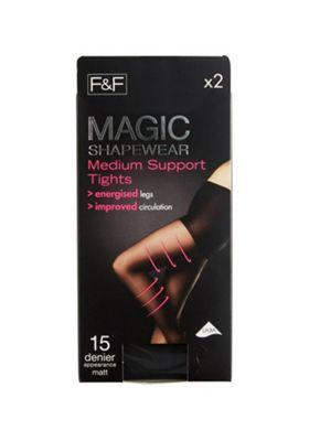 F&F 2 Pack of Magic Shapewear 15 Denier Medium Support Tights with Lycra® M Black