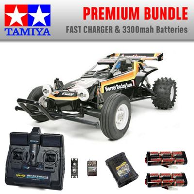 TAMIYA The Hornet RC Car Premium Bundle 2x Batteries Fast Charger 58336