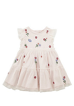 F&F Flower Embroidered Tiered Tulle Dress - Blush pink