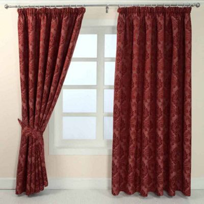 Homescapes Red Jacquard Curtain Traditional Damask Design Fully Lined - 46