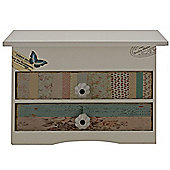 Butterfly - Decorative 2 Drawer Jewellery Box - White / Teal / Brown