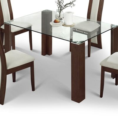 Julian Bowen Mistral Glass Dining Table with Walnut - 140cm