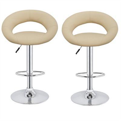 Homegear M3 Sorrento Adjustable Chrome Swivel Bar Chair/Stool X2 (Cream)