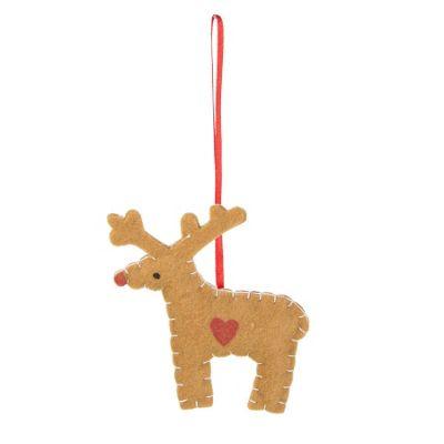 Felt Gingerbread Reindeer Decoration