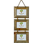 Nicola Spring Triple Driftwood 3 Photo Hanging Picture Frame - 6 x 4""