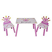 Kiddi Style Princess Themed Wooden Childrens Table & 2 Chairs - Pink