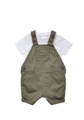 F&F Short Sleeve Bodysuit and Woven Dungarees Set Khaki 0-1 months