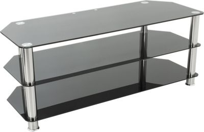 AVF Universal Black Glass and Chrome Legs TV Stand For up to 60 inch TVs