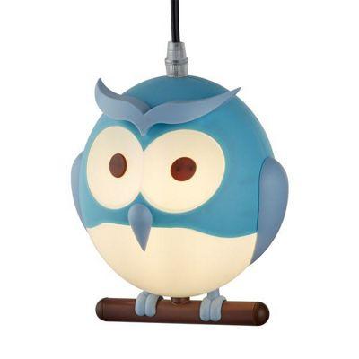 NOVELTY CHILDRENS OWL PENDANT, BLUE