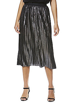 Mela London Metallic Pleated Midi Skirt - Black