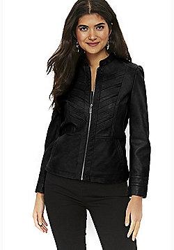 Wallis Petite Faux Leather Biker Jacket - Black