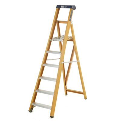 Heavy Duty 6 Tread GRP Fibreglass Platform Step Ladder (Alloy Tread)