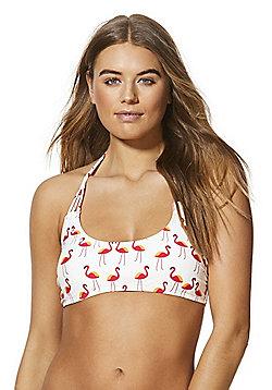Vero Moda Flamingo Print Halterneck Bikini Top - Multi
