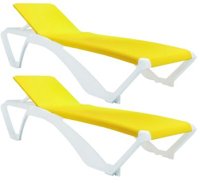 Resol Marina Sun Lounger - White Frame with Yellow Canvas Material - x2 Loungers