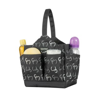 Clevamama Initials Collection Alessia Asphalt Caddy Baby Nappy Changing Organiser Bag