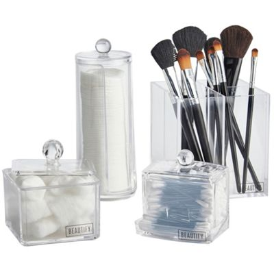 Beautify 4 Piece Bathroom Organiser Set for Makeup, Cosmetics & Toiletries - Clear