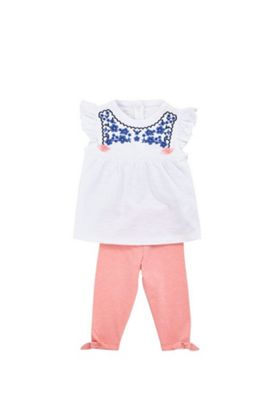F&F Embroidered T-Shirt and Leggings Set Multi 3-6 months