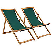 Charles Bentley Pair Of Deck Chairs - Green