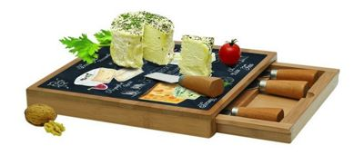 Stow Green Square Bamboo Cheese Board with Removable Drawer and 4 Cheese Knives