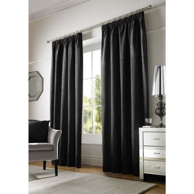 Alan Symonds Black Chenille Pencil Pleat Curtains - 46x54 Inches (117x137cm)