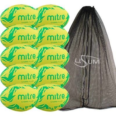 Mitre Sabre Rugby Ball 10 Pack with Mesh Bag Size 3 Yellow/Green