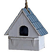 Chirpy - Decorative Hanging Wooden Bird House - Grey / Blue