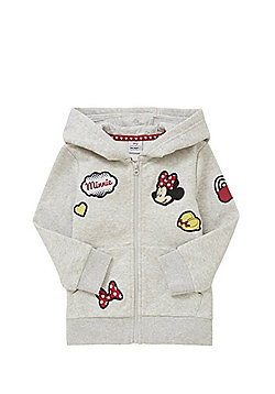 Disney Minnie Mouse Badge Zip-Through Hoodie - Light grey
