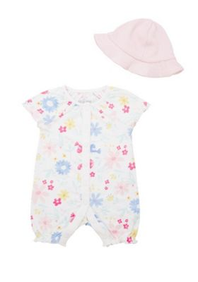 F&F Floral Print Romper and Hat Set Multi 0-1 months