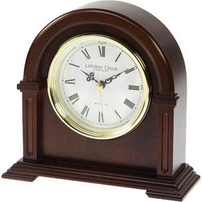 London Clock Company Arch Top Mantle Clock in Dark Wood