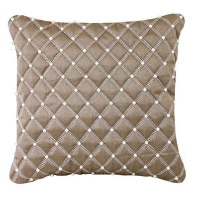 Pearl Studded Cushion - Mocha