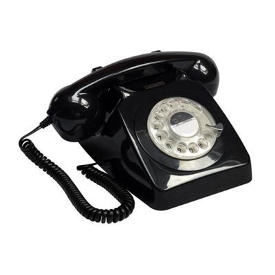 Protelx 746 Retro 1960's Style Rotary Dial Telephone in Black