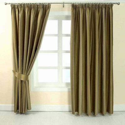 Homescapes Gold Jacquard Curtain Modern Striped Design Fully Lined - 90