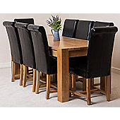 Kuba Chunky Solid Oak 180 cm Dining Table with 8 Black Washington Leather Chairs