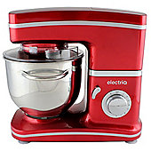 electriQ Stand Mixer 5.2 Litre 1500 Watt - Red with 3 Dishwasher Safe Attachments