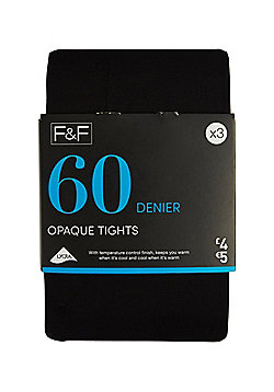 F&F 3 Pack of Opaque 60 Denier Tights with Lycra® - Black