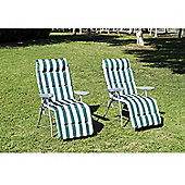 Outsunny 2 Sun Reclining Lounger With Cushion Green and White