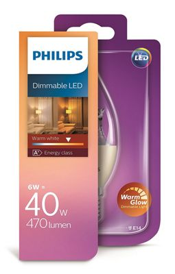Philips 6 - 40W Warmglow Clear Candle Bent Tip LED E14 Dimmable Bulb 470lm - Warm White