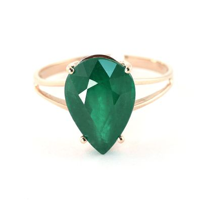 QP Jewellers 3.50ct Emerald Pear Drop Ring in 14K Rose Gold - Size A