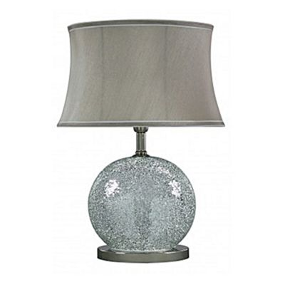Silver Sparkle Mosaic Oval Table Lamp with Taupe Shade