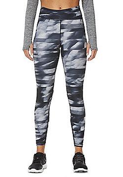 F&F Active Graphic Print Leggings - Black & Grey