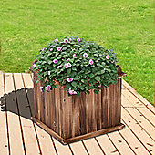 Outsunny Wooden Garden Flower Bed Vegetable Square Planter Herb Holder Display Box