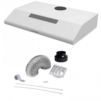 White Cookology STAND600WH Visor Cooker Hood | Traditional Standard 60cm Kitchen Extractor Fan Rear or Top Vented & Ducting Kit