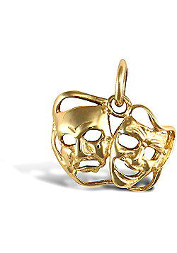 Solid 9ct Yellow Gold Awards Mask Charm Pendant