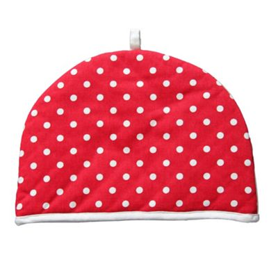 Homescapes Tea Cosy Double Design Polka Dots Red Teapot Warmer