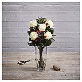 Finest Christmas White Rose with Ilex