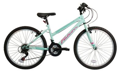 Falcon Girl's Aurora Rigid Bike - Green/Pink, 24-Inch
