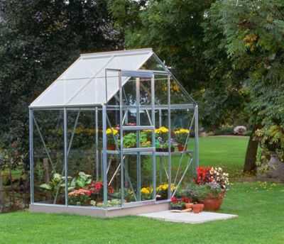 Halls 6x4 Popular Aluminium Greenhouse + Aluminium Base-frame - Horticultural Glass